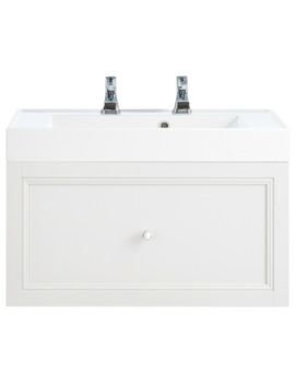 Heritage Caversham White Ash 700mm 1 Drawer Wall Hung Furniture Vanity Unit