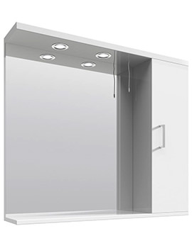 Nuie Premier Mayford High Gloss White 85cm Storage Cabinet With Lights