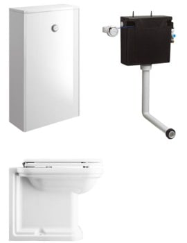 Bauhaus Waldorf White Gloss Unit With Back To Wall WC And Concealed Cistern