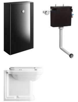 Bauhaus Waldorf Black Gloss Unit With Back To Wall WC And Concealed Cistern