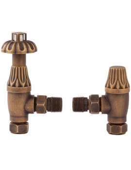 Lauren Thermostatic Antique Brass Angled Radiator Valve With Lockshield