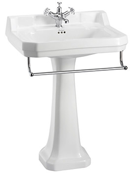 Burlington Edwardian 610mm Basin With Full Pedestal And Towel Rail