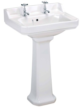 Lauren Carlton 600mm 2 Tap Hole Basin And Pedestal