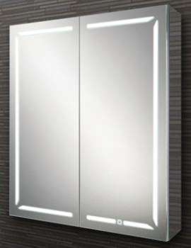 HIB Groove 60 Double Door Illuminated Bluetooth Cabinet 600 x 700mm