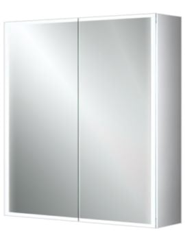HIB Qubic 60 Double Door LED Illuminated Aluminium Cabinet 600 x 700mm