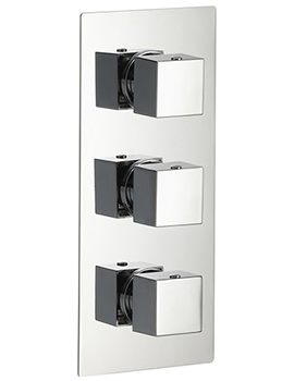 Pura Bloque Thermostatic Twin Outlet Triple Control Concealed Shower Valve