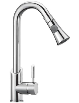 Mayfair Porto Chrome Mono Kitchen Mixer Tap With Pull Out Spray