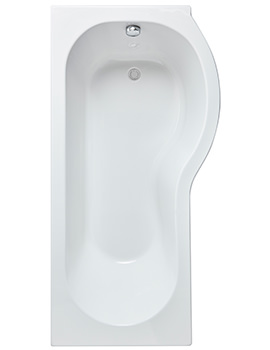 Lauren Curved P-Shaped 1600 x 850mm Left Hand Acrylic Shower Bath
