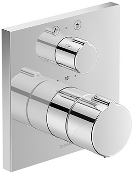 Duravit C.1 Square Thermostatic 2 Outlet Shower Mixer With Shut-Off Valve