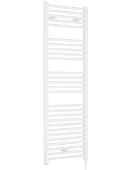 Lauren Straight 480 x 1375mm White Heated Electric Towel Rail