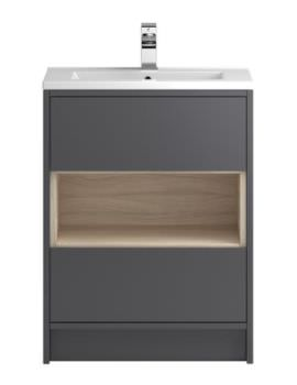 Hudson Reed Coast 600mm Gloss Grey And Driftwood Unit With Basin