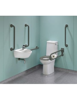 Twyford Doc.M Rimless Super CC WC Pack With Grey Grab Rails And Seat