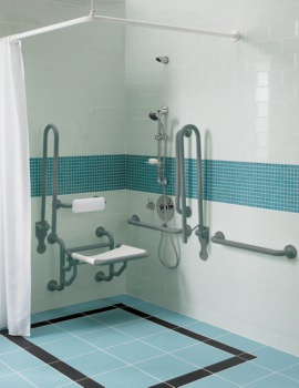 Twyford Doc.M Shower Pack With Grey Grab Rails And Seat