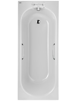 Twyford Opal 1700 x 700mm Plain 2 Tap Hole Acrylic Bath With Grips