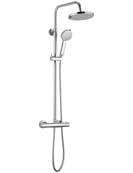 Pura Arco Thermostatic Bar Valve With Rigid Riser Fixed Head And Handset