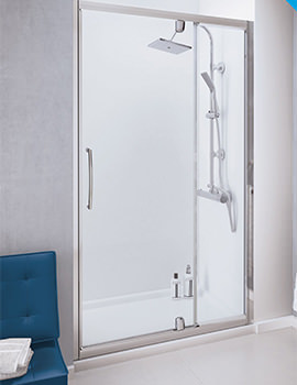 Lakes Classic Semi-Frameless Pivot Door With In-line Panel - W 1200 x H 1850mm
