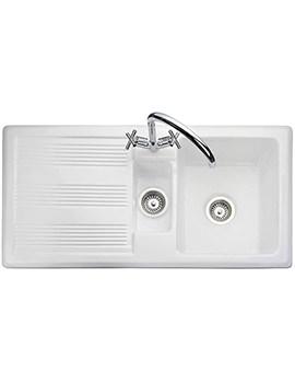 Rangemaster Portland 1.5 Kitchen Bowl White Ceramic Sink