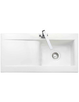 Rangemaster Nevada Kitchen Single Bowl White Ceramic Sink