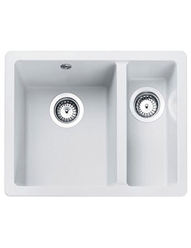 Rangemaster Paragon 1.5 Bowl Igneous Granite Undermount Sink Crystal White