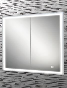 HIB Vanquish 80 Double Door LED Demisting Recessed Cabinet 830 x 730mm