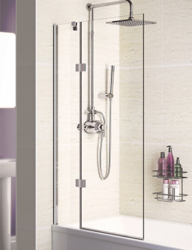 Lakes Coastline 8mm Square Double Panel Hinged Bath Screen 900mm