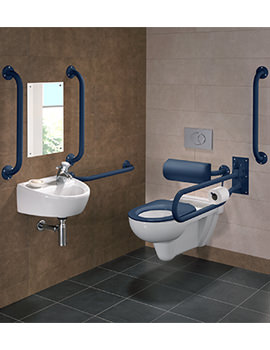 Twyford Doc.M Rimless Wall Hung WC Pack With Blue Grab Rails And Seat