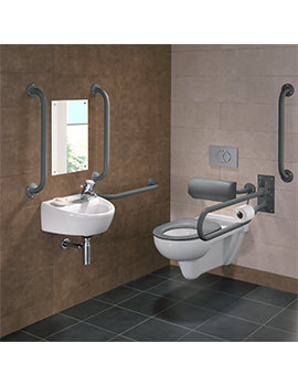 Twyford Doc.M Rimless Wall Hung WC Pack With Grey Grab Rails And Seat