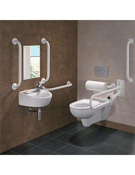 Twyford Doc.M Rimless Wall Hung WC Pack With White Grab Rails And Seat