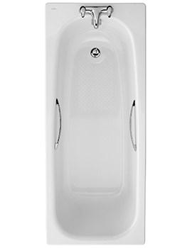 Twyford Luna 1700 x 700mm Slip Resistant 2 Tap Hole Steel Bath With Grips
