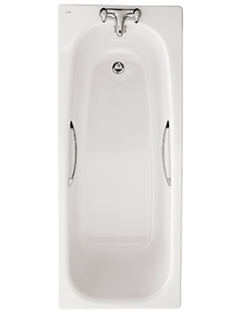 Twyford Neptune 1700 x 700mm Slip Resistant 2 Tap Hole Steel Bath With Grips