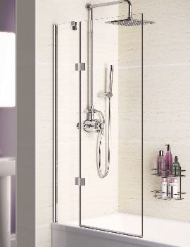 Lakes Coastline Square 8mm Double Panel Hinged Bath Screen 1000mm
