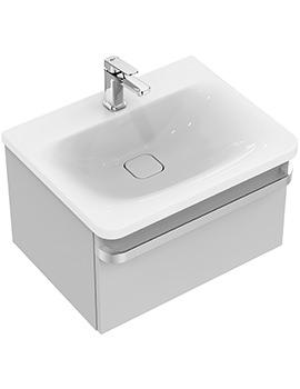 Ideal Standard Tonic II 600mm 1 Drawer Washbasin Unit Gloss Light Grey