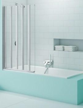 Merlyn SecureSeal 5-Fold Bath Screen 6mm Glass - W 1000 x H 1500mm