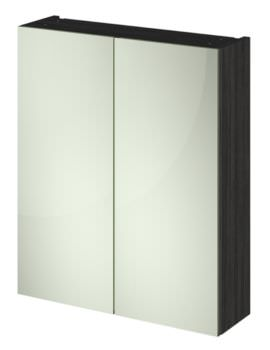 Hudson Reed Compact 600mm Hacienda Black Double Door 50-50 Mirror Cabinet