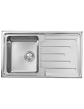 Crosswater Design 860 x 500mm Stainless Steel 1.0 Bowl Inset Kitchen Sink