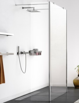 Aqualux Origin Walk In Shower Panel With Two Splash Panel Polished Silver