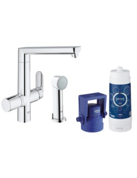 Grohe Blue Pure Kitchen Sink Mixer Tap With Starter Kit Chrome