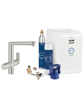 Grohe Blue Single Lever Kitchen Sink Mixer Tap With Starter Kit Supersteel