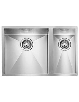 Crosswater Design 670 x 450mm Stainless Steel 1.5 Bowl Undermount Sink