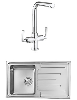 Crosswater Tropic Mixer Tap And Design 1.0 Bowl Inset Kitchen Sink Pack