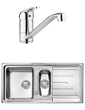 Crosswater Vital Mixer Tap And Design 1.5 Bowl Inset Kitchen Sink Pack