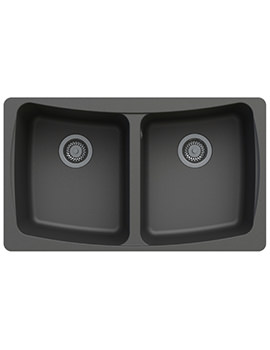 Astracast Malham 828 x 486mm ROK Granite Volcano Black 2B Undermount Sink