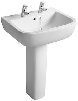 Ideal Standard Tempo 2 Tap Hole 600mm Basin And Full Pedestal