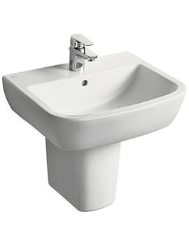 Ideal Standard Tempo 1 Tap Hole 600mm Basin And Semi Pedestal
