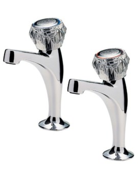 Tre Mercati Capri Pair of High Neck Pillar Taps Without Heads