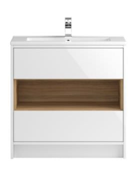 Hudson Reed Coast 800mm Gloss White And Coco Bolo Unit With Basin