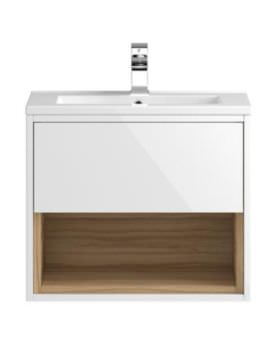 Hudson Reed Coast 600mm White And Coco Bolo Wall Hung Unit With Basin