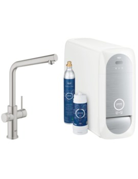 Grohe Blue L-Spout Kitchen Sink Mixer Tap With Filter Kit Supersteel