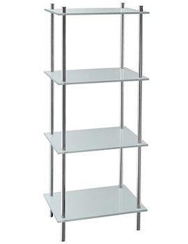 Smedbo Outline Polished Chrome Free Standing Shelf With 4 Shelves