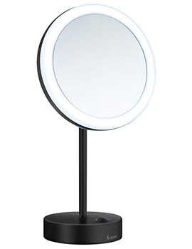 Smedbo Outline Free Standing Shaving And Make-Up Mirror With Light Black